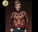 Shirt Red Wine-Gold | Long Sleeve | Fashion