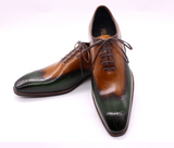 Shoes Handmade | Wingtip Oxfords | Green & Camel