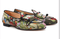Shoes Loafers Multi Color |  Jacquard Silk Double-Monk
