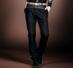Slim Straight Pants | Black | Gold Stitching