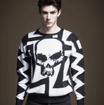 Sweater Black White | Punk Skull Style