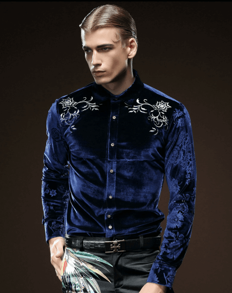 Velvet Shirt Blue | Embroidered