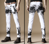 White Jeans | Street Inkjet Printed Contrast Color
