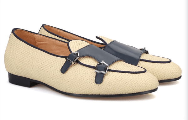 Woven Rafia Double-Monk | Loafers Handcrafted Beige