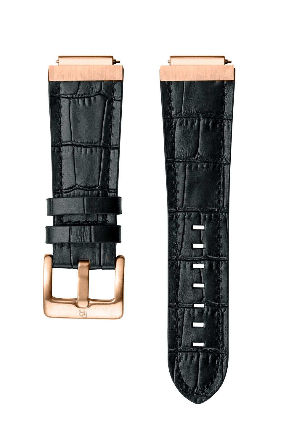 Signature/Star Dust Leather Watchband - Black Rose Gold