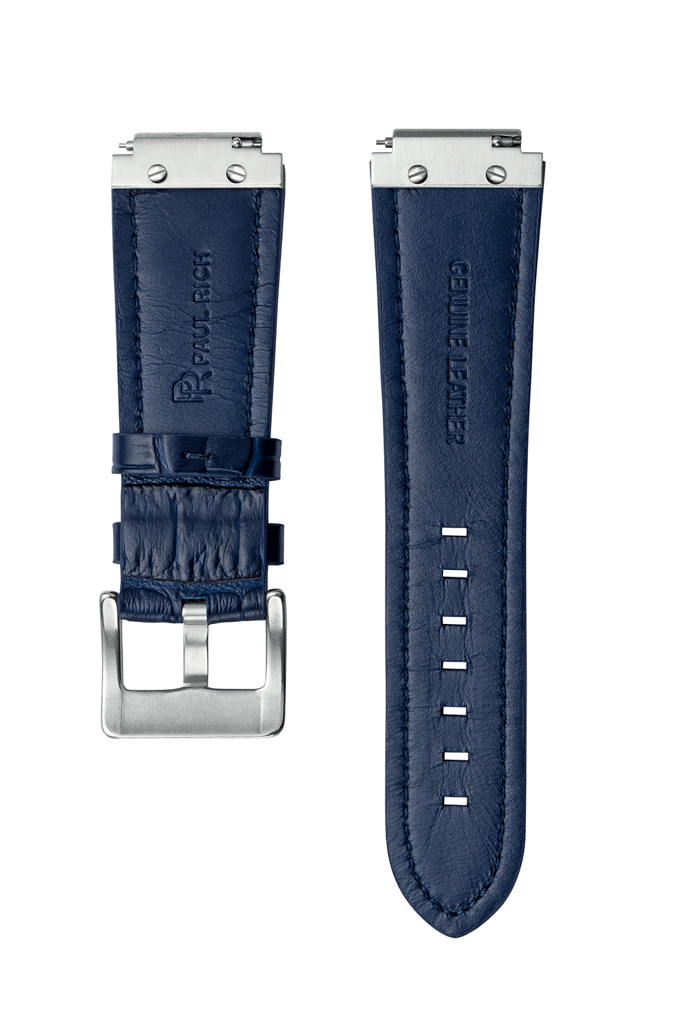 Signature/Star Dust Leather Watchband - Blue Silver