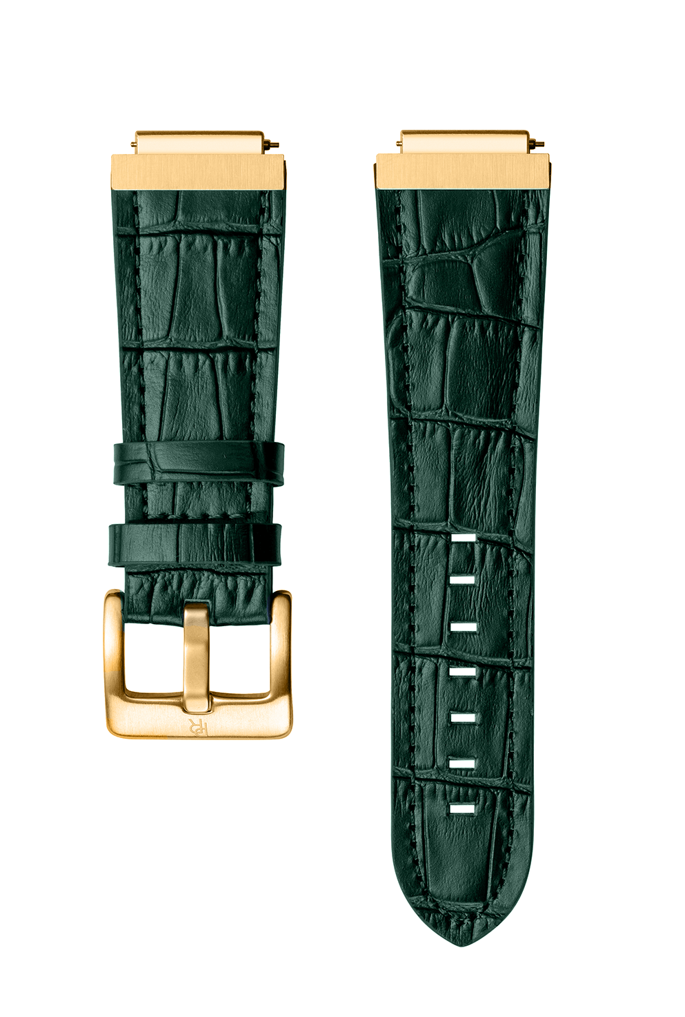 Signature/Star Dust Leather Watchband - Green Gold