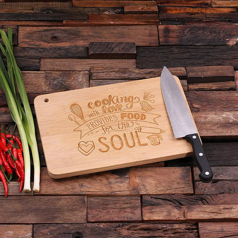 personalized bamboo wood cutting boards with chef's design, wooden gifts, housewarming gifts, anniversary gifts, wedding gifts