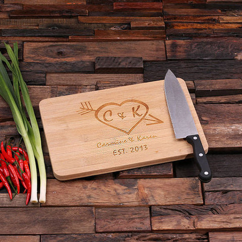 personalized bamboo wood cutting boards with heart to heart design, wooden gifts, housewarming gifts, anniversary gifts, wedding gifts