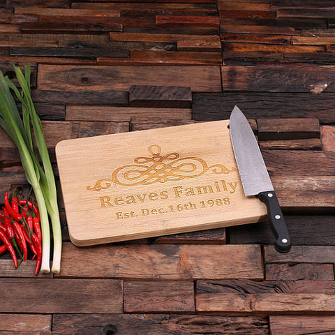 personalized bamboo wood cutting boards with family brand design, wooden gifts, housewarming gifts, anniversary gifts, wedding gifts