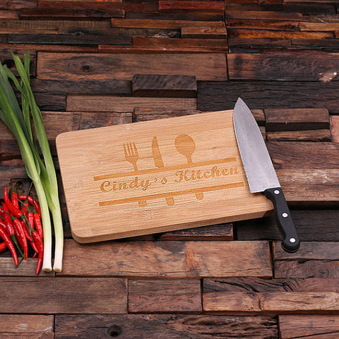 personalized bamboo wood cutting boards with chef's corner design, wooden gifts, housewarming gifts, anniversary gifts, wedding gifts