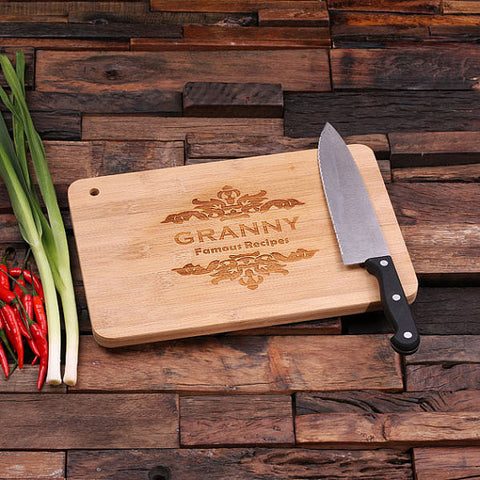 personalized bamboo wood cutting boards with crown victorian design, wooden gifts, housewarming gifts, anniversary gifts, wedding gifts