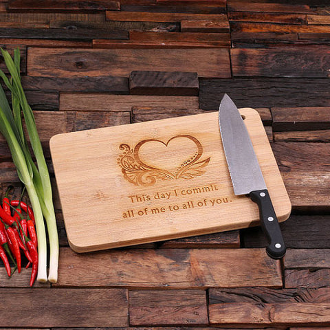 "personalized bamboo wood cutting boards with ""all my love"" design, wooden gifts, housewarming gifts, anniversary gifts, wedding gifts"