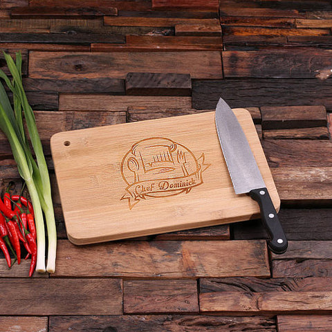 personalized bamboo wood cutting boards with chef's hat design, wooden gifts, housewarming gifts, anniversary gifts, wedding gifts