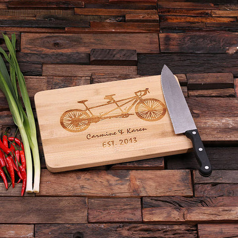 personalized bamboo wood cutting boards with family bike design, wooden gifts, housewarming gifts, anniversary gifts, wedding gifts