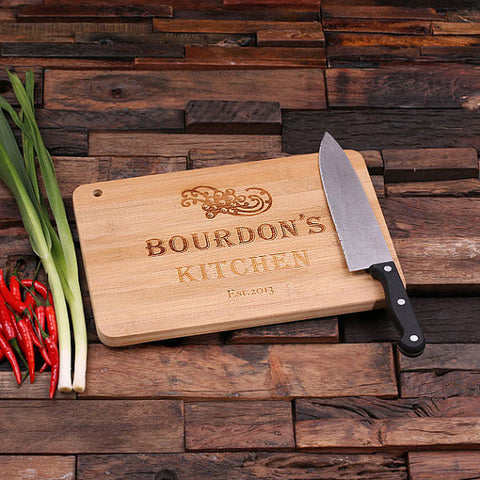 personalized bamboo wood cutting boards with kitchen brand design, wooden gifts, housewarming gifts, anniversary gifts, wedding gifts