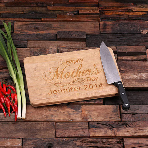 "personalized bamboo wood cutting boards with ""a mother's love"" design, wooden gifts, housewarming gifts, anniversary gifts, wedding gifts"