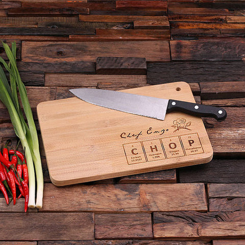 personalized bamboo wood cutting boards with cooking decal design, wooden gifts, housewarming gifts, anniversary gifts, wedding gifts