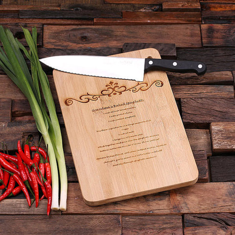 personalized bamboo wood cutting boards with grandma recipe design, wooden gifts, housewarming gifts, anniversary gifts, wedding gifts