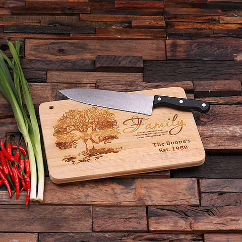 personalized bamboo wood cutting boards with family tree design, wooden gifts, housewarming gifts, anniversary gifts, wedding gifts