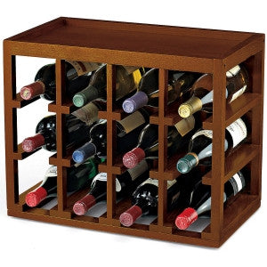 12 Bottle Wooden Wine Rack | Cube-Stack Mahogany Wood Natural Finish
