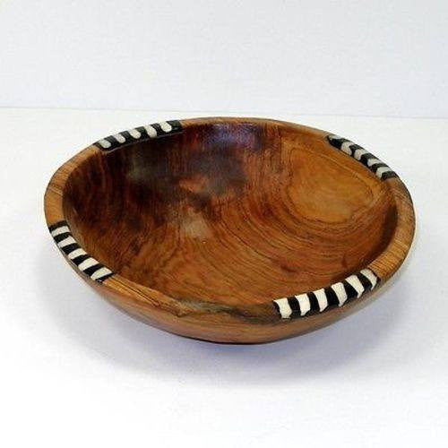"Exquisite Hand Carved 7"" Olive Wood Bowl High Quality With Inlaid Bone"