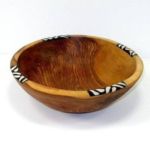 "Hand Carved 9"" Olive Wood Bowl High Quality With Inlaid Bone"