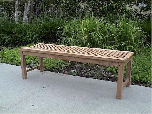 5 ft Curved Seat Wood Bench | Backless Garden Bench | Solid Teak Outdoor Furniture