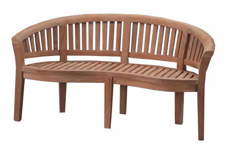 Teak Wood Bench | 3-Seater Garden Wooden Bench With Curved Back