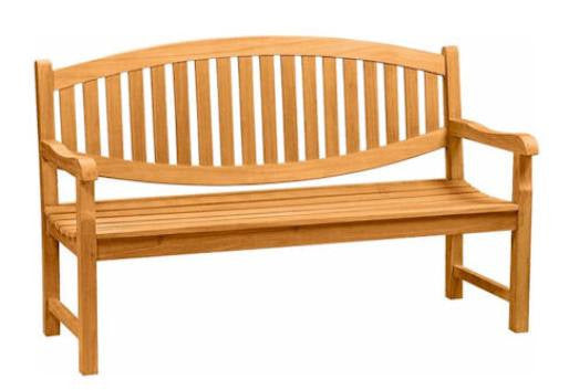 3-Seat Oval Back Wood Bench | Garden Wooden Bench Seat | Teak Wood