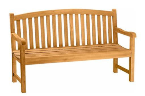 3-Seat Curved Back Wood Bench | Garden Wooden Bench Seat | Teak Wood