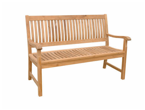 3-Seat Solid Wood Bench | Straight Back | Outdoor Garden Furniture