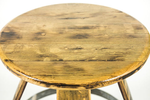"30"" Barrel Bar Stool Handcrafted From Reclaimed Red Wine Barrel"