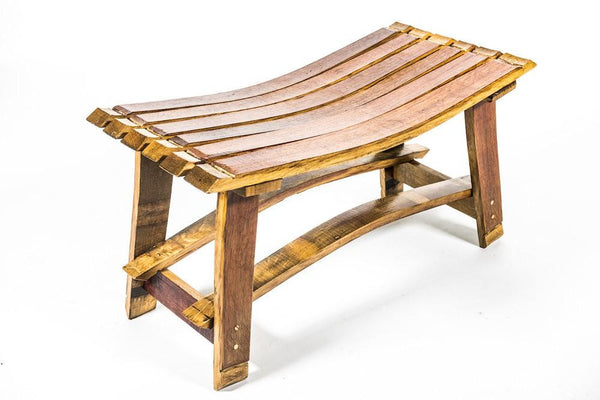 "36"" Rustic Wine Barrel Bench Handcrafted From Authentic Reclaimed Red Wine Barrel"