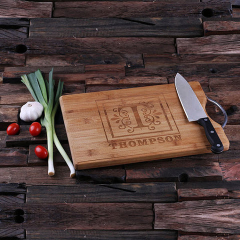 "14"" personalized bamboo wood cutting boards with steel handle, wooden gifts, housewarming gifts, anniversary gifts, wedding gifts"