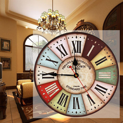 "12"" Wooden Wall Clock Modern With Roman Numeral Round Style With Vintage Design"