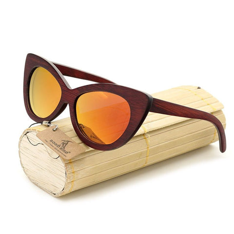 Oval Wooden Sunglasses For Women | Polarized Lens With Wood Gift Box