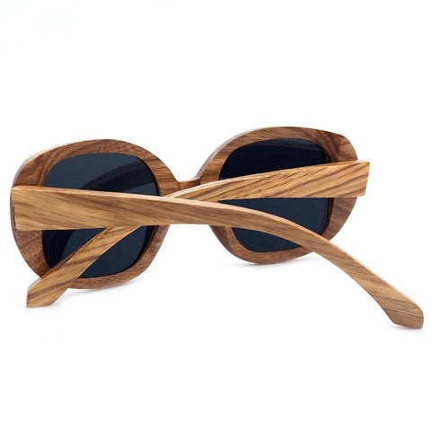 Square Sunglasses For Women | Zebra Wood Frames | Polarized With Wooden Case