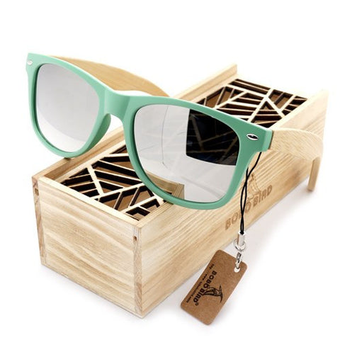 Unisex Polarized Sunglasses Bamboo Temple |UV 400 Lens Include Wooden Box