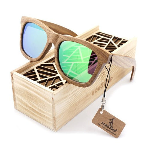 Wooden Sunglasses With Blue & Green Lens | Bamboo Polarized with Wooden Gift Box