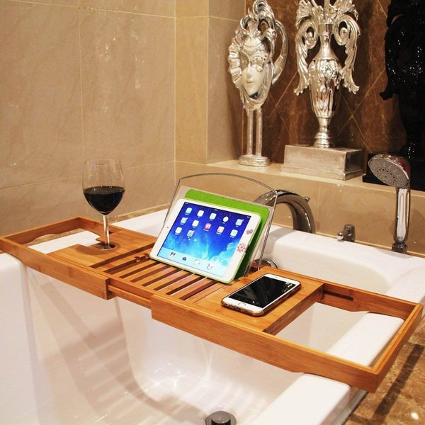 Bamboo Wooden Adjustable Tray Holder For Bath Tub.  Light Weight And Durable For Long Lasting Use