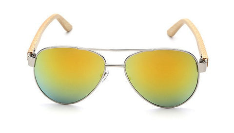 Classic Polarized Sunglasses Bamboo Temple | Mens Wooden Shades