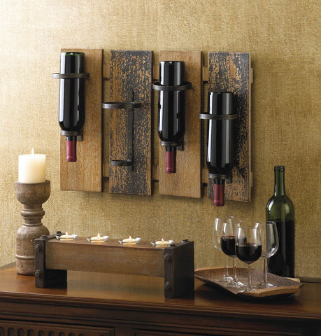 Wooden Wall Mounted Wine Rack With Rustic Look