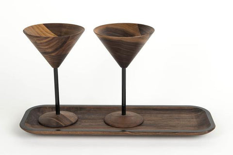 wooden martini glass set include tray with black designs perfect wooden gifts or anniversary gifts