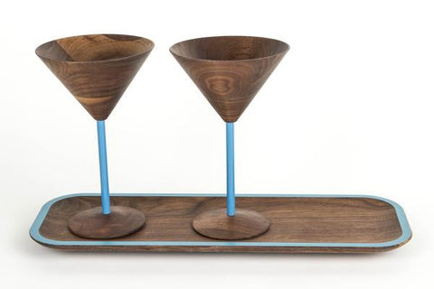 wooden martini glass set include tray with blue designs perfect wooden gifts or anniversary gifts