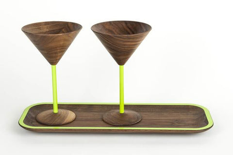 wooden martini glass set include tray with green designs perfect wooden gifts or anniversary gifts