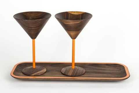 wooden martini glass set include tray with orange designs perfect wooden gifts or anniversary gifts