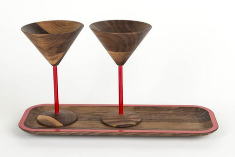 wooden martini glass set include tray with red designs perfect wooden gifts or anniversary gifts