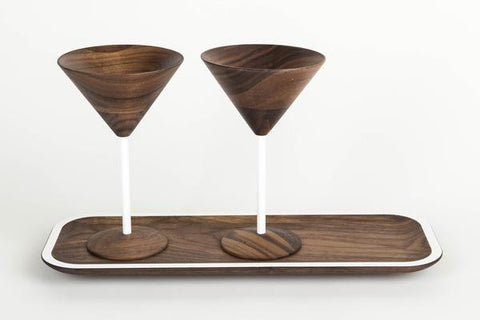 wooden martini glass set include tray with white designs perfect wooden gifts or anniversary gifts