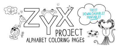 Free Alphabet Coloring Pages. The MoMeMans® ZYX Project by Monica Escobar Allen